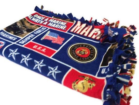 United States Marine Corps Fleece Tie Blanket By