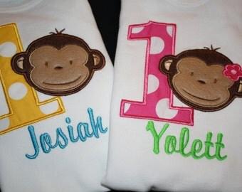 Mod Monkey Birthday Onesie or Shirt for Girl or Boy