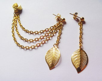 Gold Leaf Ear Cuff and Earring