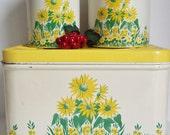 Canister Breadbox Set Yellow Vintage Tin Cottage Shabby Kitchen Home Decor Housewares Farmhouse Rustic Decor