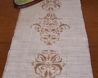 Burlap Table Runner,Damask Tapestry Runner, Handpainted Runner, 46x14 Runner,Decorative Table Runner,Wedding Runner