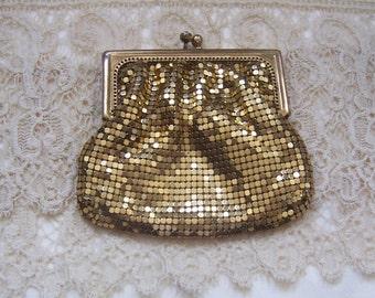 Vintage 1950's Duramesh Gold Purse, Evening Purse, Clutch, Bride's Purse