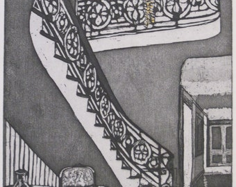GRAND ENTRANCE - etching & aquatint on Dutch etching paper, with gold accent