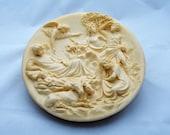 """VINTAGE Studio Dante Di Volteradici Alberto Santangela Plate """"La Nativita"""", The Nativity in Relief"""