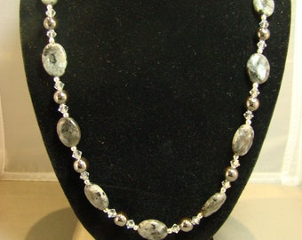 Labradorite and Hemetite Sterling Silver Necklace and Earring Set Handmade