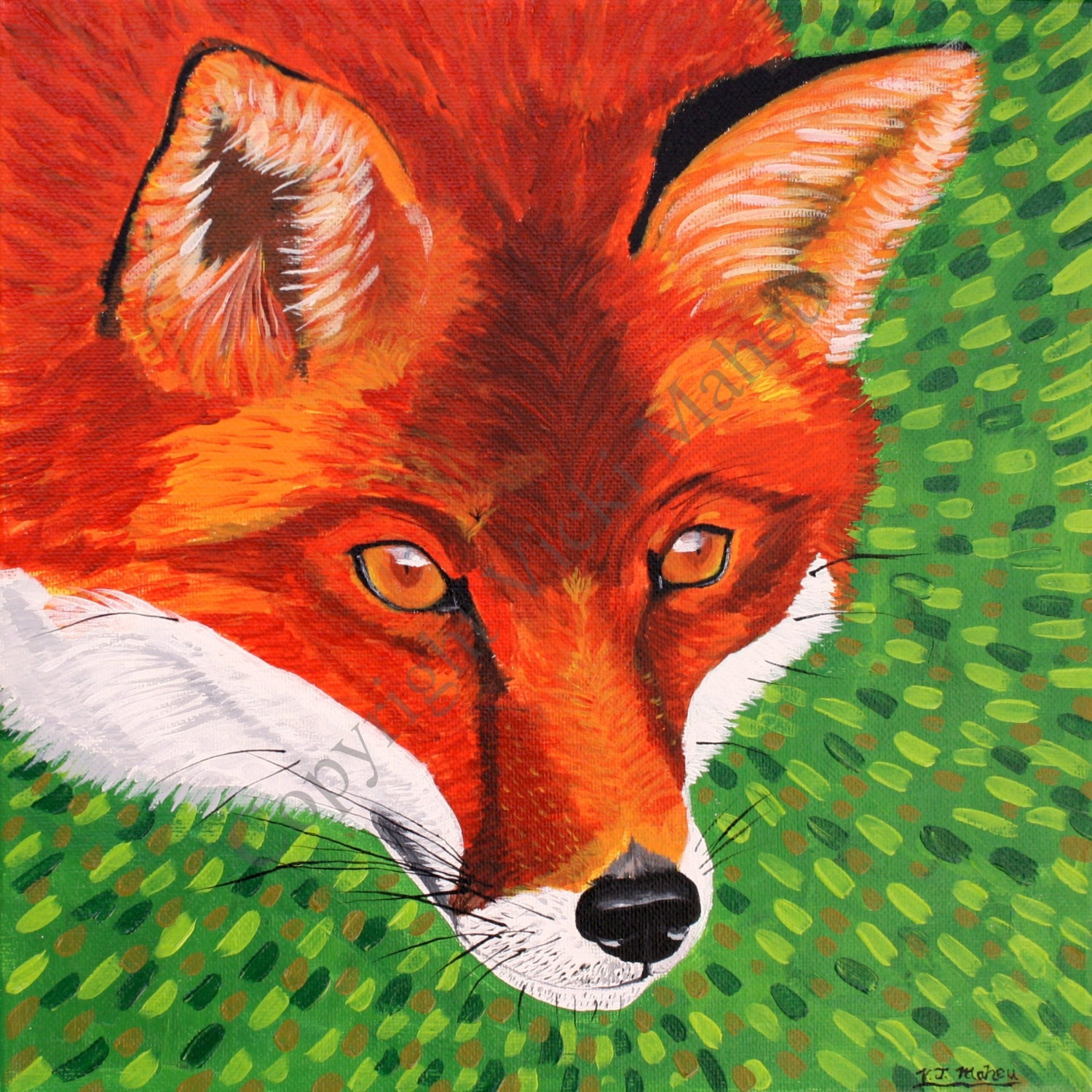Fox Home Decor Fox Wall Art Fox Picture Fox Painting Red