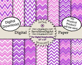 Pink & Purple Chevron Digital Paper - Instant Download, Zig Zag Paper for Scrapbook, Invitations, Photo Background Paper
