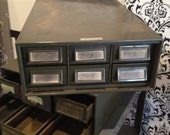 Vintage Urban Industrial Chic Metal 6 Drawer Cabinet