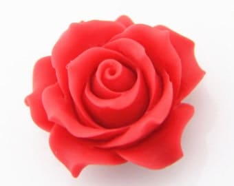 4pcs of resin rose cabochon 36mm-0284-40-red