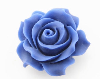 2 pcs of resin rose cabochon 36mm-0284-48-cobalt