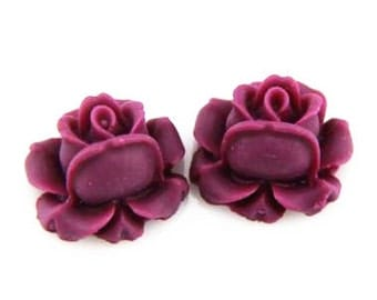 20 pcs of resin rose bud cabochon-13mm-0476-25-marron