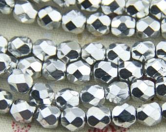 25 pcs strand of Czech glass polished beads-6mm-9017- silver
