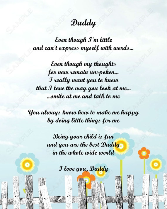 Items similar to daddy love poem from child 8 x 10 print - I love you daddy download ...