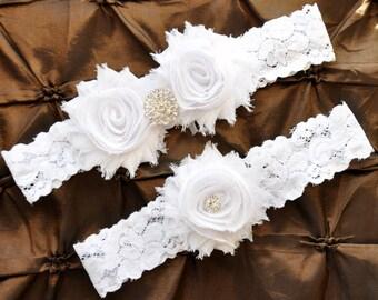 White Wedding Garter, Bridal Garter Set - White Lace Garter, Keepsake Garter, Toss Garter, Shabby Chiffon White, White Bridal Garter Belt