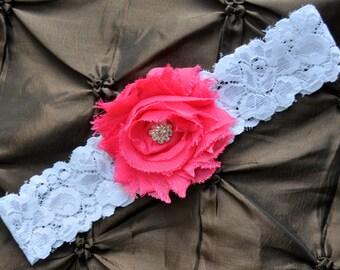 Wedding Garter, Bridal Garter - White Lace Garter, Toss Garter, Shabby Chiffon Hot Pink, Hot Pink Wedding Garter, Hot Pink Bridal Garter