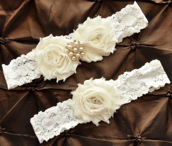 Ivory Garters Wedding: Ivory Wedding Garter Set Bridal Garter Set By