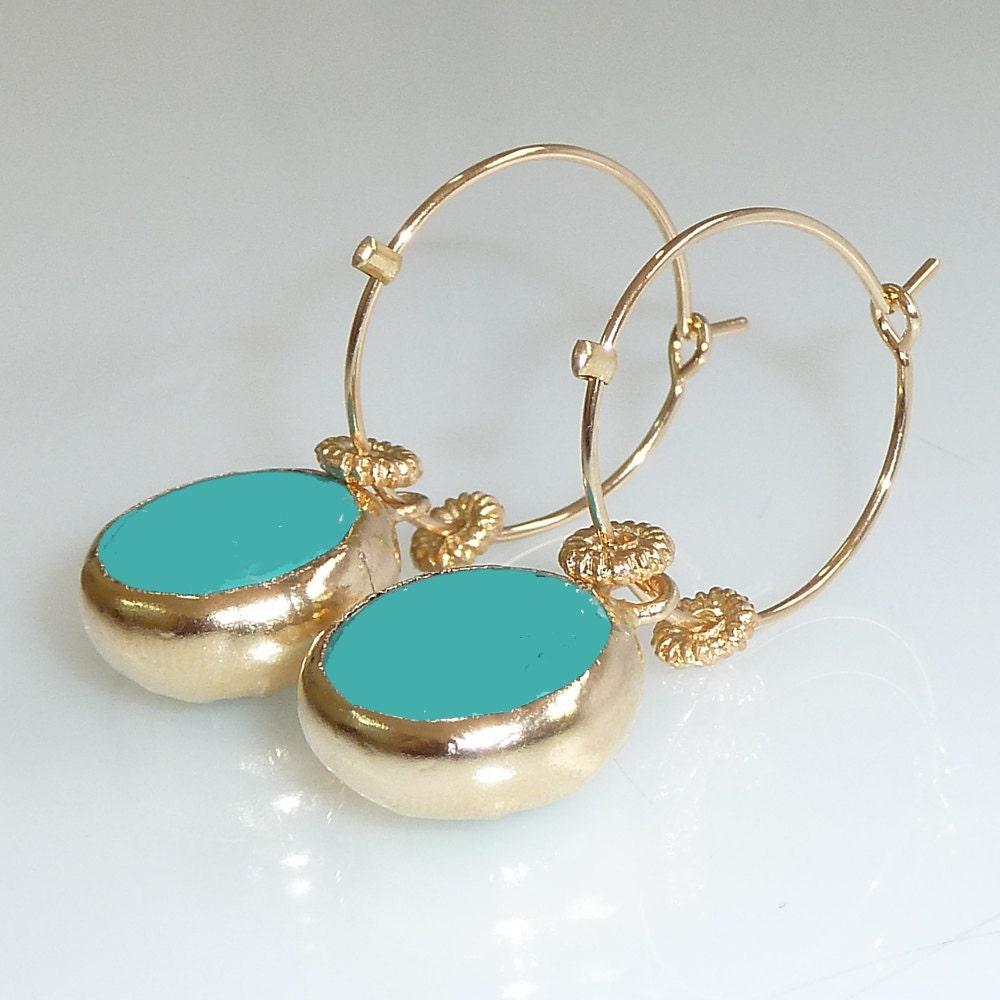 gold hoop earringsdangle turquoise earrings ocean by. Black Bedroom Furniture Sets. Home Design Ideas