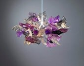 Pendent light with Purple and Gray flowers and leaves for hall, bathroom or as a bedside lamp.