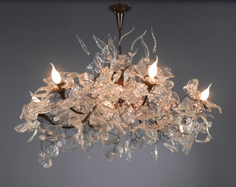Chandeliers - Royal hanging chandeliers with Transparent leaves and flowers for living room or dinning table lighting.
