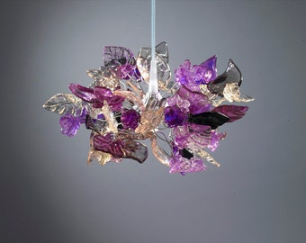 Pendant light with Purple and Gray flowers and leaves for hall, bathroom or as a bedside lamp, kitchen island