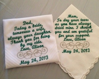 Set of Two Personalized WEDDING HANKIE'S Mother & Father of the Bride Gifts Hankerchief - Hankies, you pick thread colors