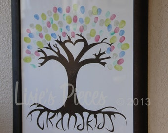 Ready-Made - Thumb Print Tree - Finger Print Tree - Mother's Day Gift - Wedding Guest Tree