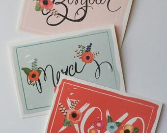 Bonjour Merci XOXO {Greeting Note Card Set of 8 Assortment}