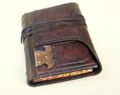 Leather Journal, Sketchbook, Dark Brown Rustic Leather, Brass Corner, Painted Edges