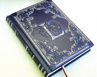 Leather Journal, Blank Book, Navy Blue Leather, 6 x 9 in, Medieval Style, Hard Cover, Handmade Gilding, Personalized