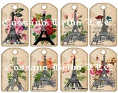 Vintage Paris Eiffel tower with Roses. 2.5 x 4 tags 300dpi Digital Collage sheet Instant Download