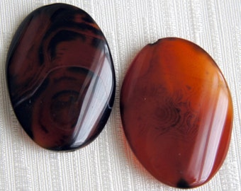 Bead, precious, gemstone, natural, stone, nugget Rustic Orange Agate Oval Focal Pendant Beads -2
