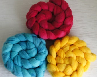 SALE set of 3 Merino Wool Roving - Hand Painted Felting or Spinning Fiber TOTAL - 300g
