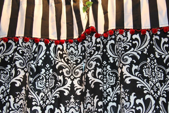 Black And White Kitchen Curtains With Red Ball Trim