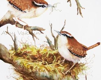 Wren Painting 8x10 print- bird wildlife art nature brown- print of watercolor painting