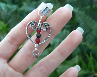 scrolled heart ear cuff antique silver black and red crystal beads steampunk boho hippie goth gypsy and hipster style