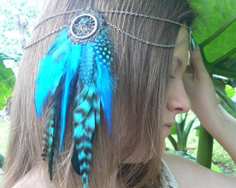 dreamcatcher feather head chain headdress coachella jewelry festival jewelry pow wow head dress Turquoise  halo  head piece in tribal fusion