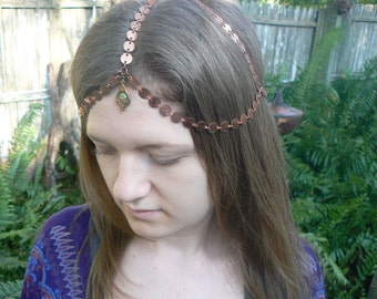 copper belly dancer head chain headdress head piece  halo in belly dance moroccan morrocan boho gypsy hippie and  hipster style