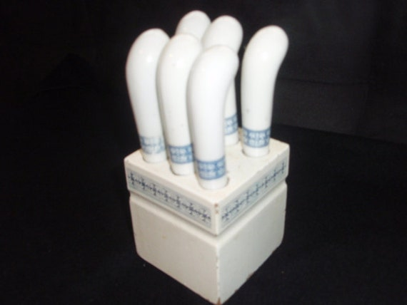 Vintage blue and white canape set shabby chic party set six for Canape knife set