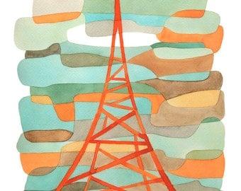 Orange Transmitter Mid Century Modern Art Print Mid century Poster orange blue green brown 8 x 10
