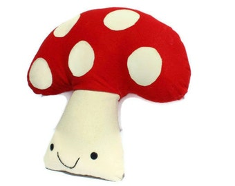 Large fabric mushroom toadstool - red felt and linen - large cushion or toy