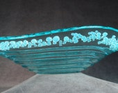 Glass art bowl Fused green glass with opalescent  glass dot inclusions Textured glass from spiral and raised dots