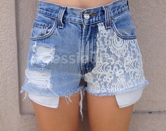 high waisted destroyed denim shorts lace shorts denim shorts