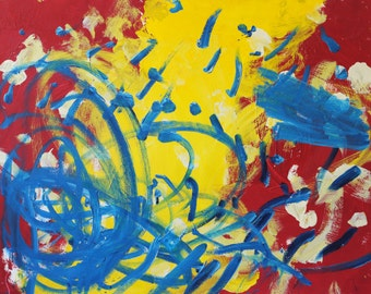 Abstract Painting - Artist with Autism - Original Acrylic on Watercolor Paper