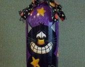 Hand Painted Halloween Cat Wine Bottle...Halloween Decor...Fall Decor...Holiday Decor...Primitive...Folk Art