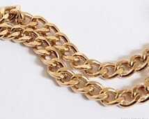 Heavy Gold Chain - Chunky Chain Gold Finished Steel - 7mm Wide Flat Curb Chain by the Foot - Ships Fast from USA
