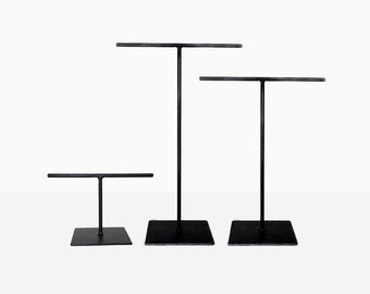 Standard Steel Necklace T-Stand, Tall Necklace T-Stand, & Small Bracelet T-Stand Set - Set of Three - Jewelry Holder - Metal Display
