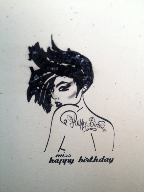 items similar to miss happy birthday greeting card  tattoo on etsy, Birthday card