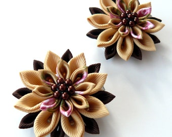 Kanzashi  Fabric Flowers. Set of 2 hair clips. Shades of brown.