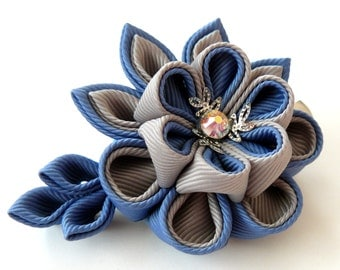 Kanzashi fabric flower hair clip. Grey and blue.
