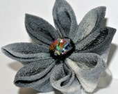 Blue and white kimono fabric kanzashi hair flower clip with fused glass bead center